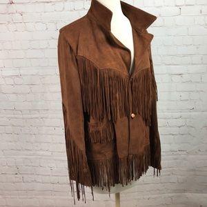 Vintage brown Mexican suede fringe coat ladies S